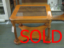 Glass topped table. SOLD.