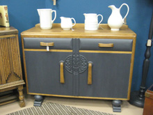 1940s painted and oak sideboard, £180. Blaby Antiques Centre