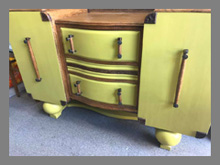 Yellow sideboard with oak top and detailing, £150