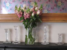 Vintage glass candlesticks and jug